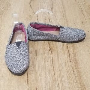 TOMS Classic Slip On Flats Tweed Knit Sparkle
